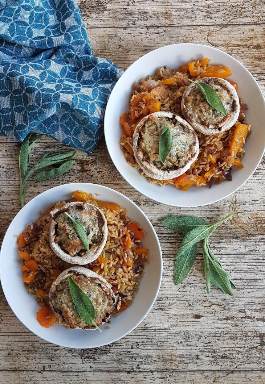 Brown rice vegetable blue cheese filled mushrooms.jpg