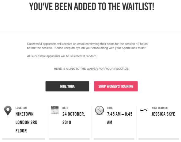 Nike Town London yoga waitlist