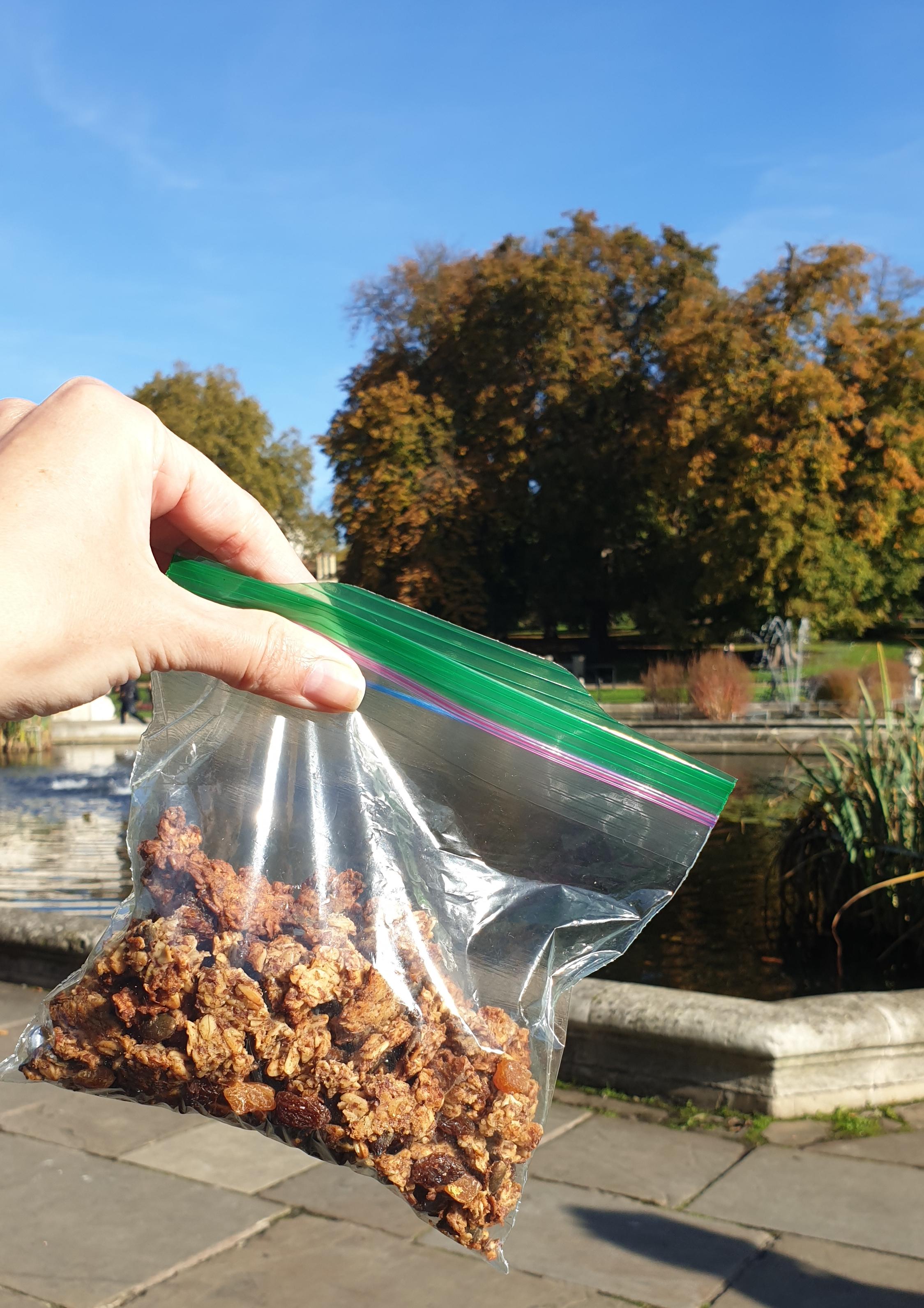 Homemade granola as a snack